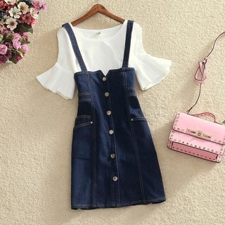 Ribbed Bell Elbow-Sleeve Top / Buttoned Suspender Denim Skirt / Set: Ribbed Bell Elbow-Sleeve Top + Buttoned Suspender Denim Skirt 1060925958