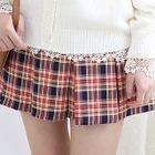 Band-Waist Plaid Pleated Mini Skirt 1596