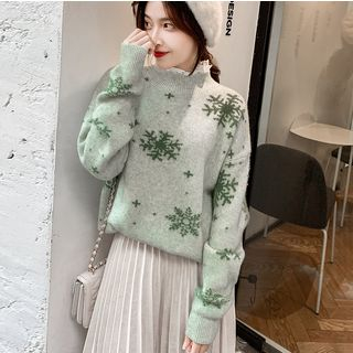 Image of Snowflake Pattern Lace Collar Sweater