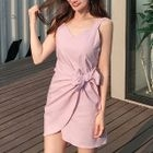 Sleeveless Linen Blend Wrap-Front Mini Dress 1596
