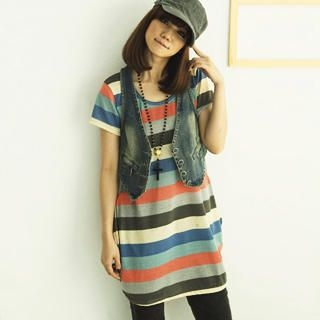 Buy CatWorld Short-Sleeve Striped T-Shirt Dress 1022763978