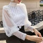 Lace Panel Long-Sleeve Knit Top 1596