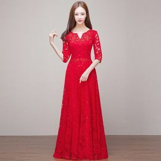 Elbow-Sleeve Lace Panel Evening Gown 1053827423