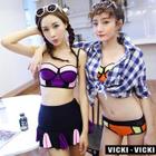 Color-Block Bikini and Cover-Up Set 1596