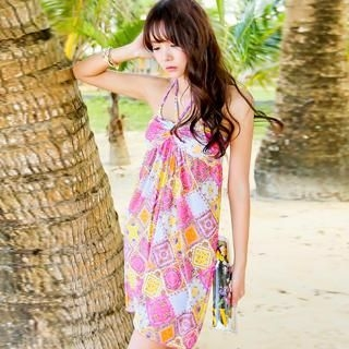 Set: Argyle Print Bikini + Cover-Up Halter Dress
