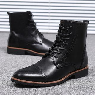 Image of Faux Leather Brogue Short Boots
