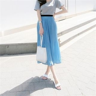 Band-Waist Pleated Long Skirt 1060420048