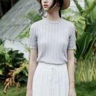 Short-Sleeve Rib Knit Top 1596