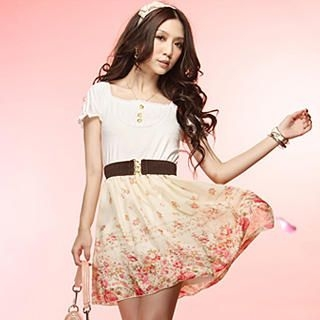Picture of Tokyo Fashion Puff-Sleeve Belted Panel Dress 1022937301 (Tokyo Fashion Dresses, Womens Dresses, Taiwan Dresses)