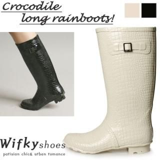 Buy Wifky Croc-Grain Patterned Rain Boots 1022830769