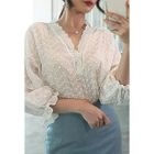 Set: Lace-Trim Sheer Top + Frilled-Hem Denim Skirt 1596