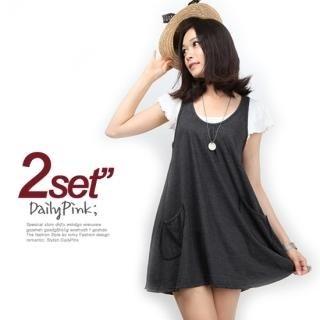 Buy Daily Pink Set: Tank Dress + Flutter Sleeve Top 1022992056