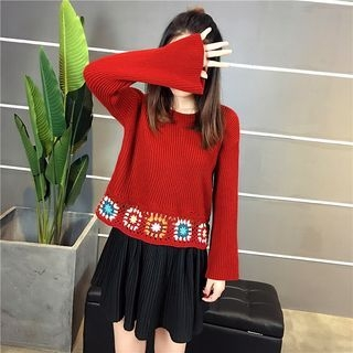 Patch Embroidered Ribbed Sweater 1063838320