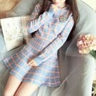 Long-Sleeve Plaid A-line Dress 1596