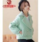 Plain Double-Breasted Woolen Coat 1596