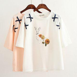 Print Lace Up Short-Sleeve T-shirt 1064669430