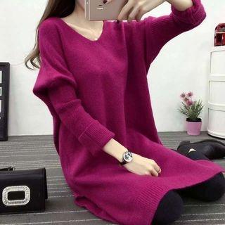 Long-Sleeve V-neck Knitted Dress 1063945075