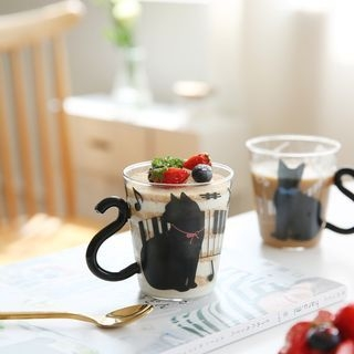 Cat Accent Glass Cup 1058584156