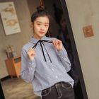 Bow-Accent Striped Casual Shirt 1596