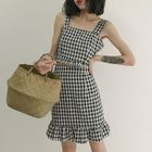 Set: Gingham Tank Top + Mini Ruffle Hem Skirt 1596