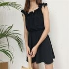 Plain Frill Trim Tie Strap Sleeveless Dress 1596