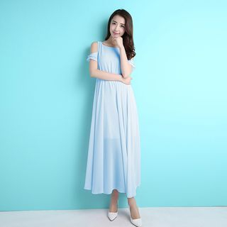 Cut Out Shoulder Short Sleeve Chiffon Maxi Dress 1050920197