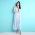 Cut Out Shoulder Short Sleeve Chiffon Maxi Dress 1596
