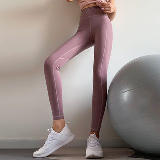 Image of Contrast Stitching Cropped Yoga Pants