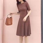 Striped Lace-Up Elbow-Sleeve A-Line Dress 1596