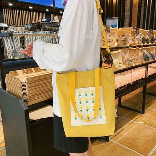 Image of Flower Embroidered Canvas Shopper Bag With Shoulder Strap