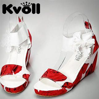"Buy Kvoll Floral-Print ""Bow"" Platform Wedges 1023070169"