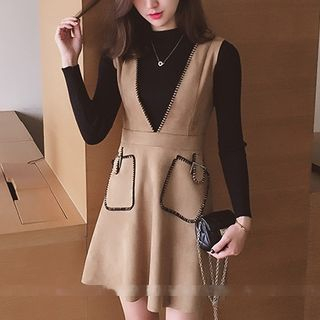 Set: Ribbed Knit Long Sleeve Top + V-Neck Pinafore Dress 1053753424