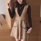 Set: Ribbed Knit Long Sleeve Top + V-Neck Pinafore Dress 1596