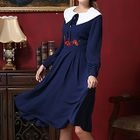 Embroidered Long-Sleeve Collared Midi Dress 1596