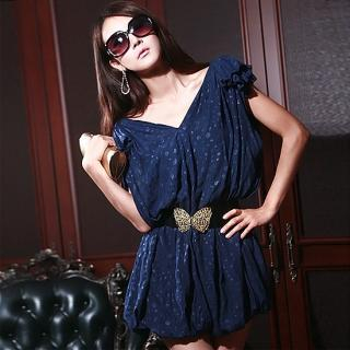 Buy Nabi Set: Short-Sleeve Bubble-Hem Dress + Belt 1023005746