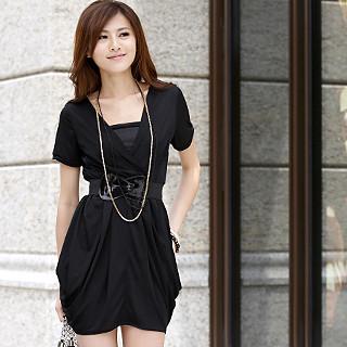 Picture of 59th Street Set: Short-Sleeve Shirred Wrap Dress + Belt Black - One Size 1022647772 (59th Street Dresses, Womens Dresses, Hong Kong Dresses, Short-Sleeve Dresses)
