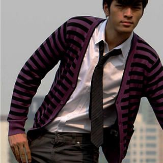 Buy Justyle Striped Woolen Knit Cardigan 1021546045