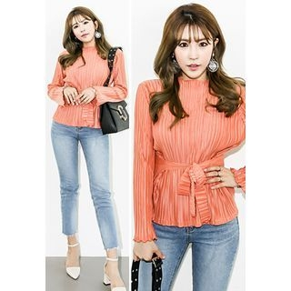 Tie-Waist Ribbed Blouse 1057256533