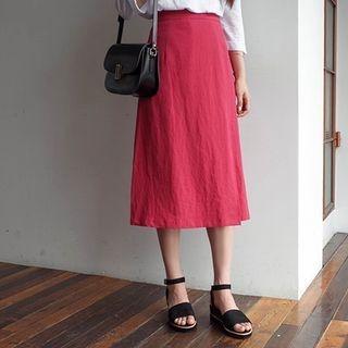 Band-Waist Linen Blend Long Skirt 1060045484