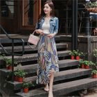 Banded-Waist Patterned Tiered Skirt 1596
