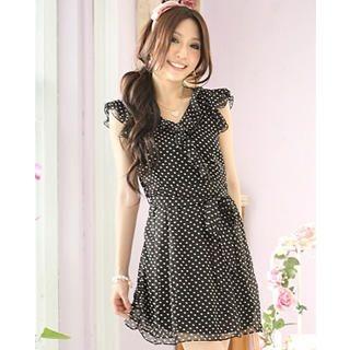 Buy Tokyo Fashion Ruffle Polka Dot Chiffon Dress 1022882826