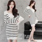 Long-Sleeve V-Neck Striped Knit Dress 1596