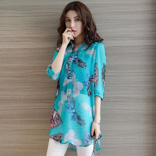 Image of Butterfly Print Elbow Sleeve Top with Bandeau