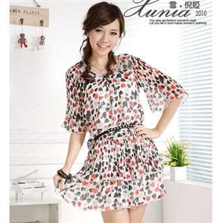 Buy Xunia Heart Print Chiffon Dress 1022506002