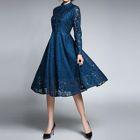 Long-Sleeve A-line Lace Dress 1596