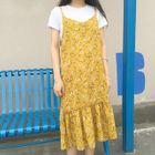 Floral Print Midi Strappy Dress 1596