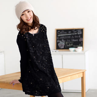 long-sleeve-beaded-lace-dress-black-one-size