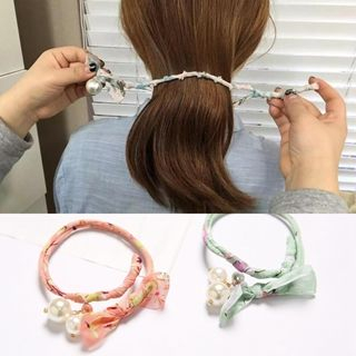 Image of Beaded Printed Bun Maker Hair Tie