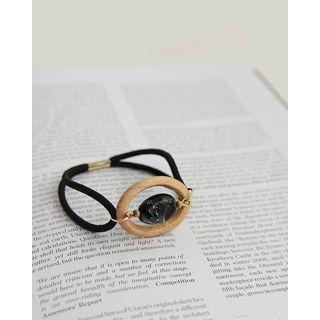 Wooden-Oval Elastic Hair Tie 1060946395