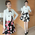 Set : Double-breasted Jacket + Floral Print Dress 1596